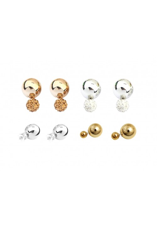 Hot Shining Double Sided (Set Of 4Pairs) Crystal Alloy Stud Earring