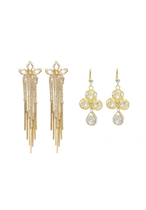 Hot Shining Flower( Set Of 2 Pairs ) Crystal Alloy Dangle Earring