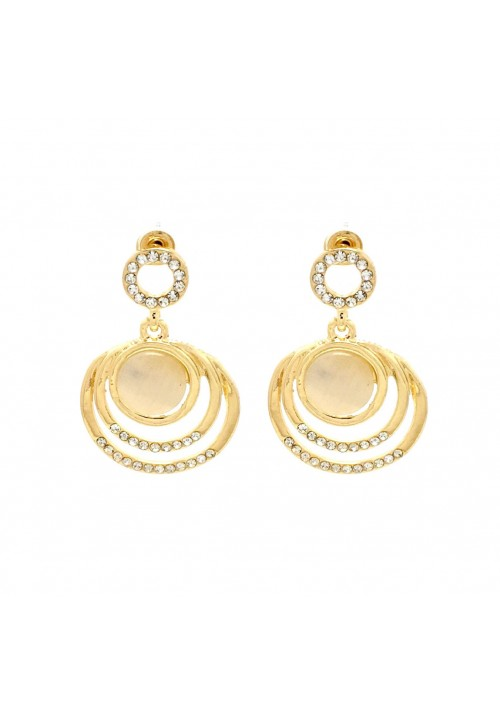 Shining Golden Moonstone Zircon Alloy Dangle Earring