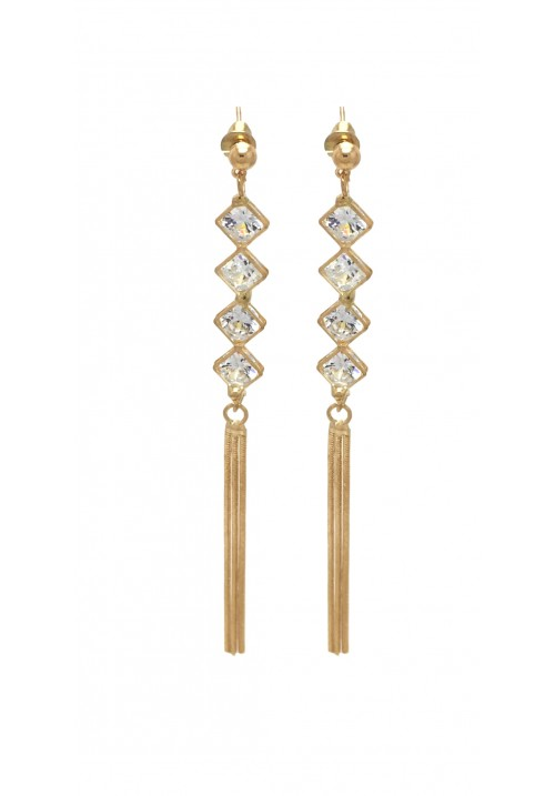 Shining Golden Geometric Crystal Alloy Dangle Earring