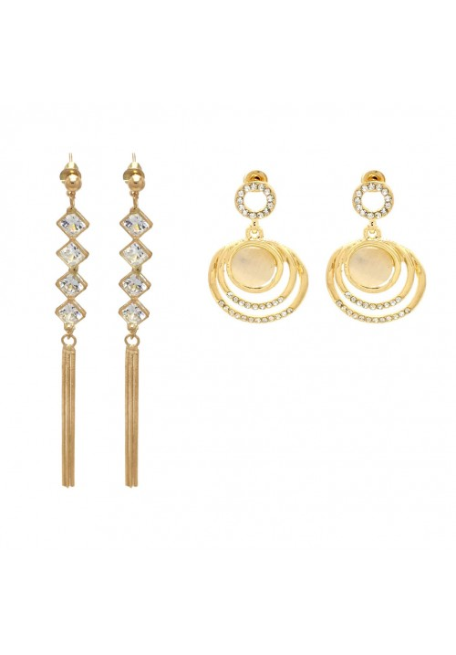 Shining Golden Geometric (Set Of 2 Pairs) Zircon, Crystal Alloy Dangle Earring