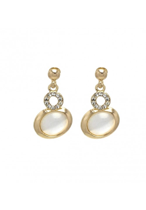 Glimmering Golden Round Geometric Zircon Alloy Dangle Earring
