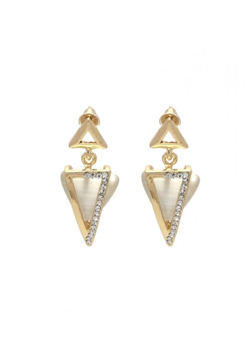 Shimmering Golden Double Triangle Zircon Alloy Dangle Earring