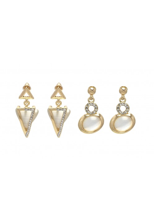 Eccentric Golden Geometric (Set Of 2 Pairs) Zircon Alloy Dangle Earring