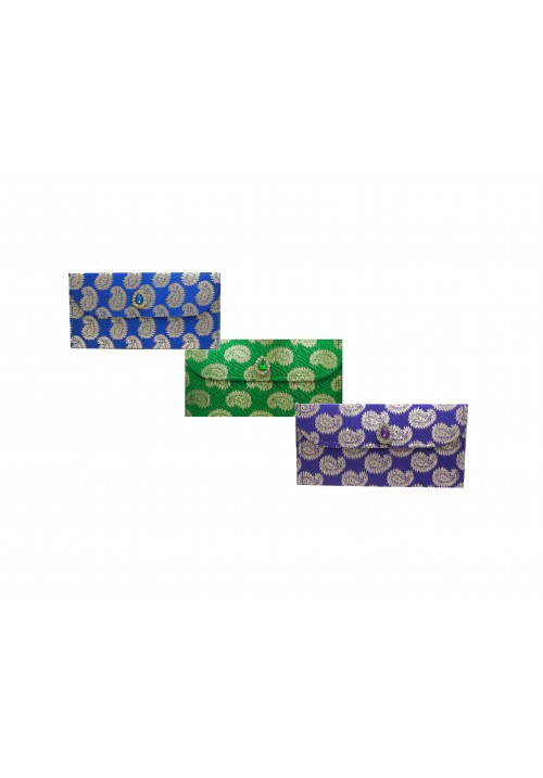 Designer Ethnic Festivity Glamour Envelopes (Pack of 3 Green, Blue, Purple, Gold)