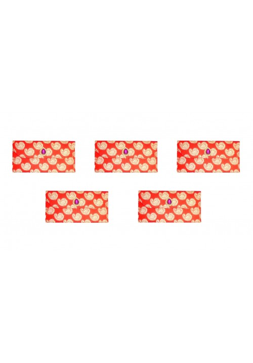 Designer Ethnic Festivity Glamour Envelopes (Pack of 5 Red, Pink, Gold)