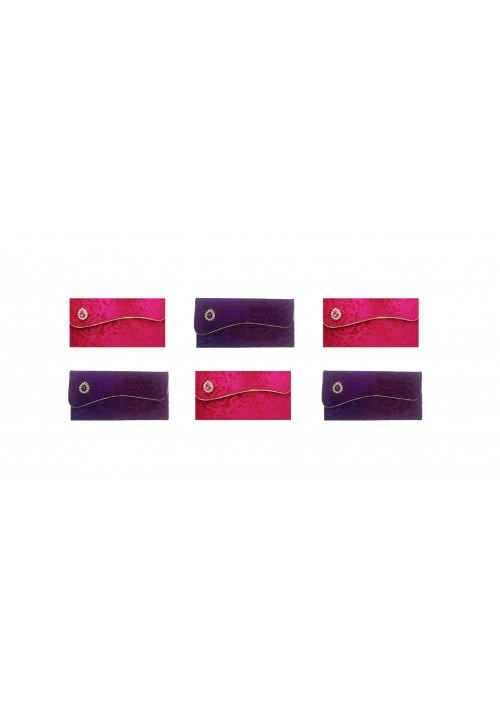 Designer Ethnic Festivity Glamour Envelopes (Pack of 6 Pink, Gold, Purple)