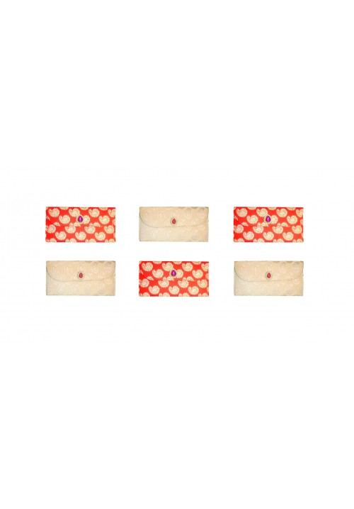 Designer Ethnic Festivity Glamour Envelopes (Pack of 6 Red, Beige, Gold)