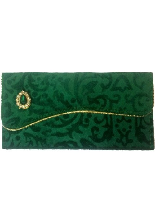 Shagun/Money Designer Envelopes (Pack of 1 Green, Gold)