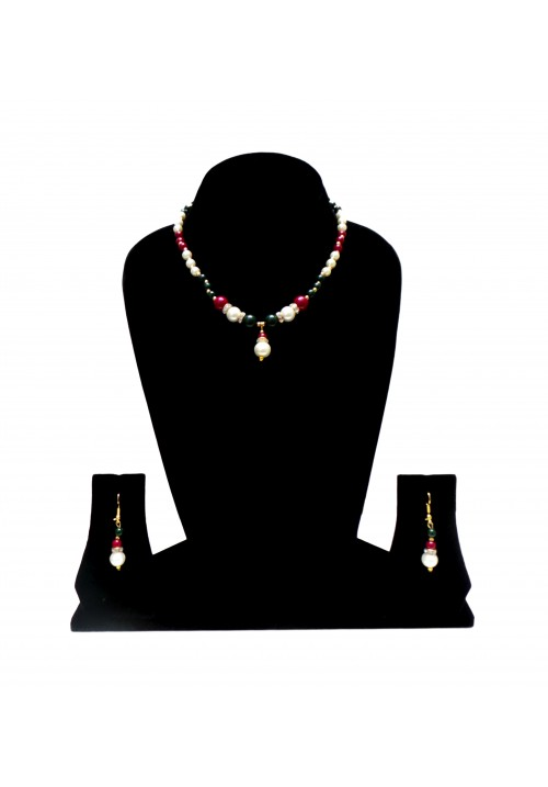 Alloy Jewel Set (Maroon, Gold, Green, White)