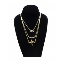 Forever New My Heart Beats For You Infinity Layered Glam Alloy Necklace