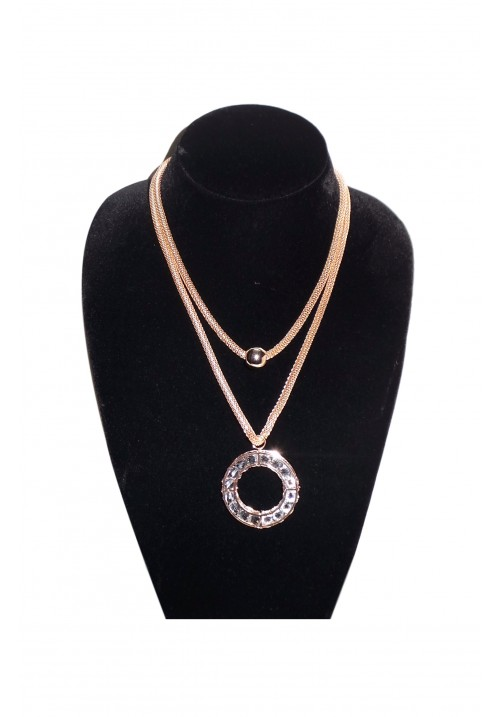 Diva Look Crystal Layered Alloy Necklace