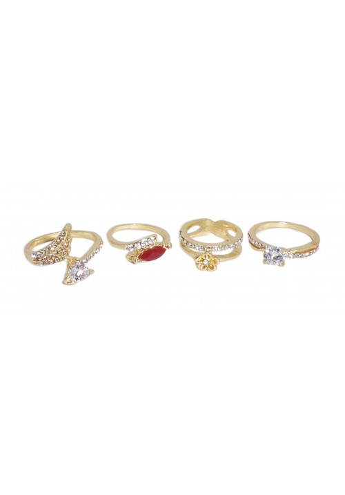Alloy Cubic Zirconia Yellow Gold Ring Set
