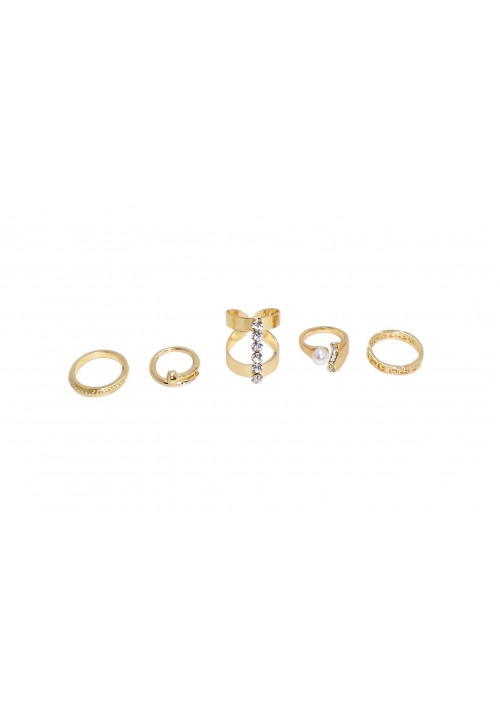 Forever Golden Bliss (Set Of 5 Rings) Alloy Zircon Yellow Gold Ring Set