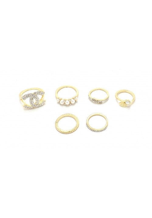 Forever Golden Bliss (Set Of 6 Rings) Alloy Zircon Yellow Gold Ring Set