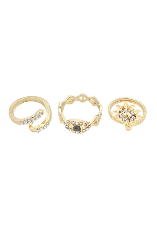 Forever Golden Bliss (Set Of 3 Rings) Alloy Zircon Yellow Gold Ring Set